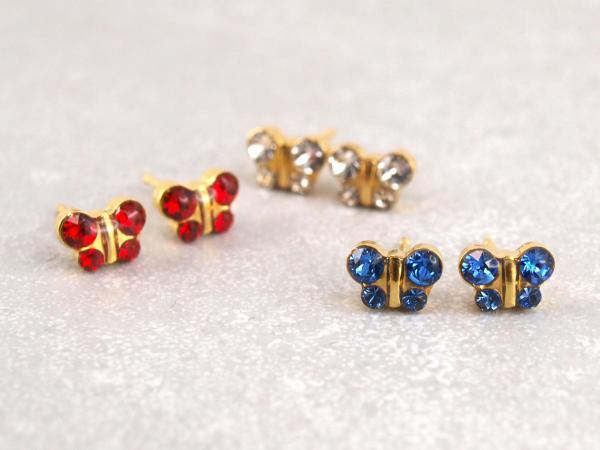 Schmetterlinge gold blau rot weiss glitzer Studex Ohrstecker Allergiker16_