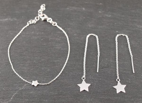Schmuckset Armband mit Stern und Durchziehohrringe Stern