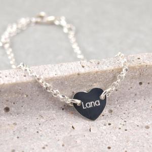 Filigranes Silberarmband mit Herz Gravur Groesse verstellbar Geschenkidee