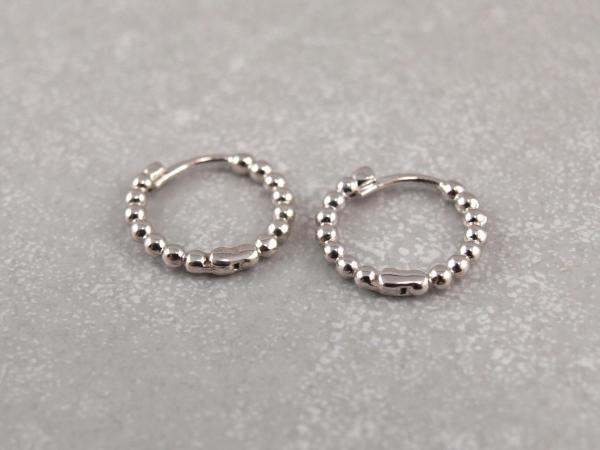 Kreolen aus 925er Silber Kuegelchen Optik 13mm klappbar 4