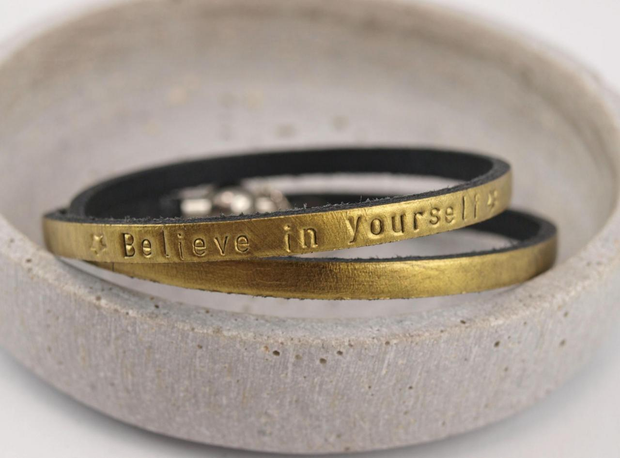 Nici II. Lederarmband Gravur Wunschtext in Gold - Believe in yourself Motivation Geschenkidee