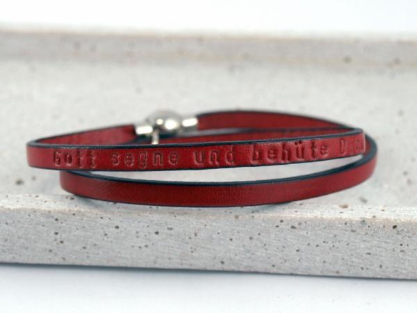 Nici zweifach Lederarmband mit Gravur Wunschtext Kommunion Geschenk rot