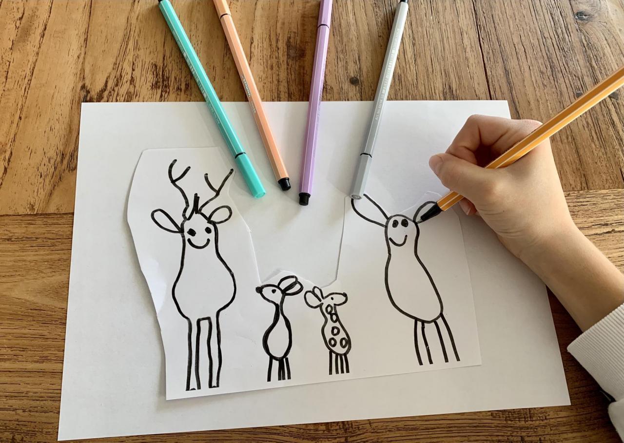 Bambifamilie Kinderzeichnung als Gravur vom Bild zum Geschenk