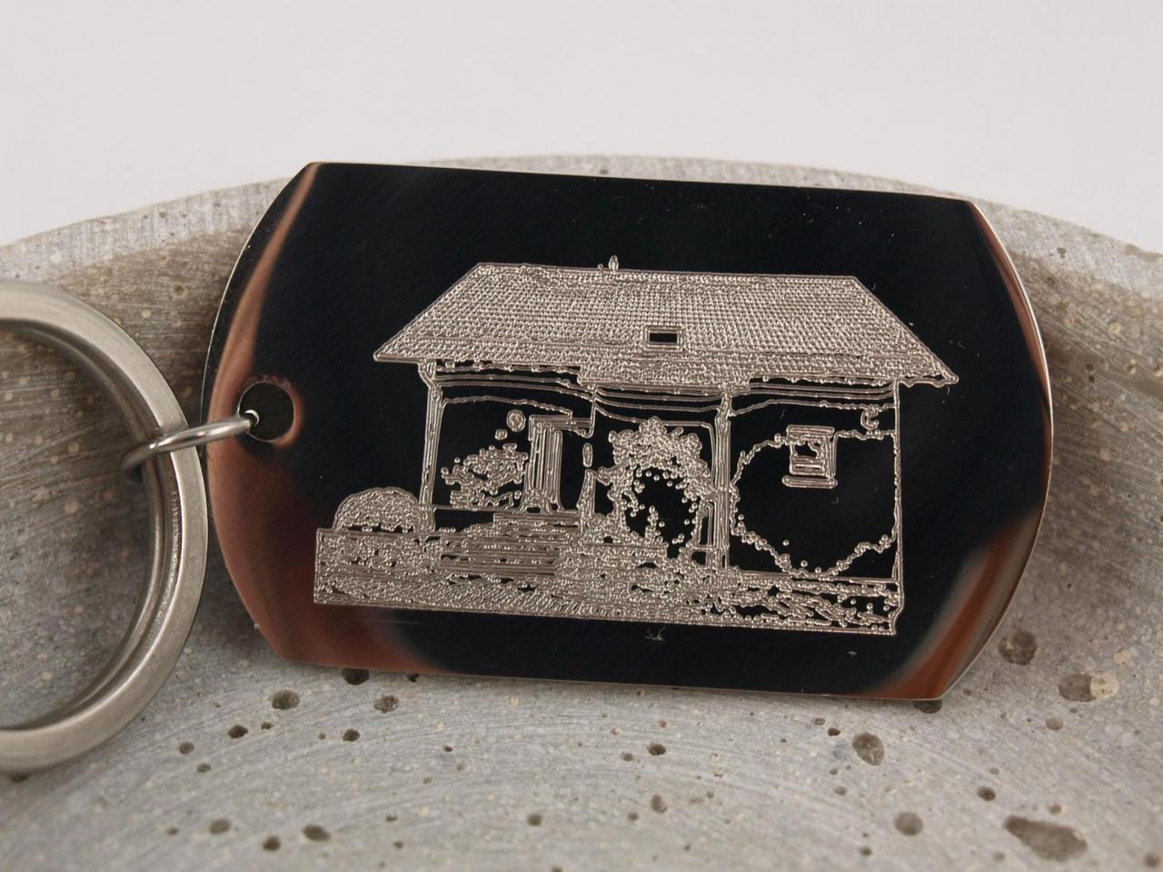 Edelstahl Schluesselanhaenger mit individueller Gravur Zeichnung Bild oder Handschrift Bild Haus
