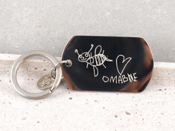 Schlüsselanhänger mit individueller Gravur, Bild, Handschrift, Kinderzeichnung als Gravur, Geschenk bine
