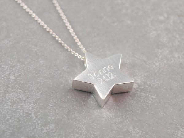 925er silber Stern mit Gravur Kette Geschenkidee zu Weihnachten