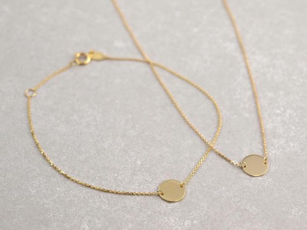 Armband und Collier Echt Gold 333 - 8 mm Plaettchen