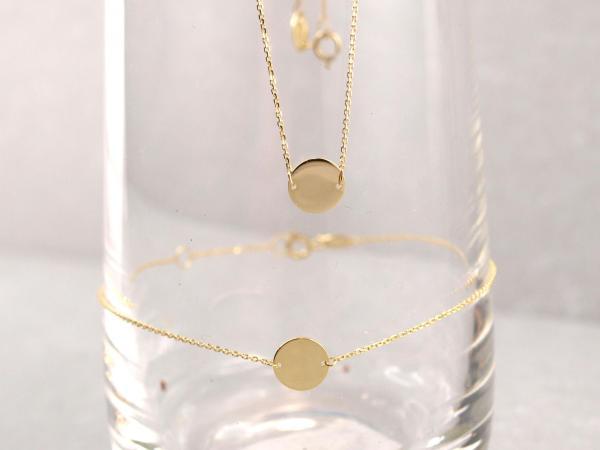 Armband und Collier Echt Gold 333 8 mm Plättchen