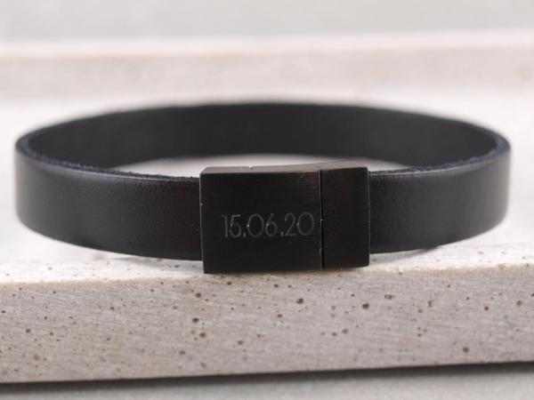 Black Edition schwarz Leder schwarz mit DAtum Gravur