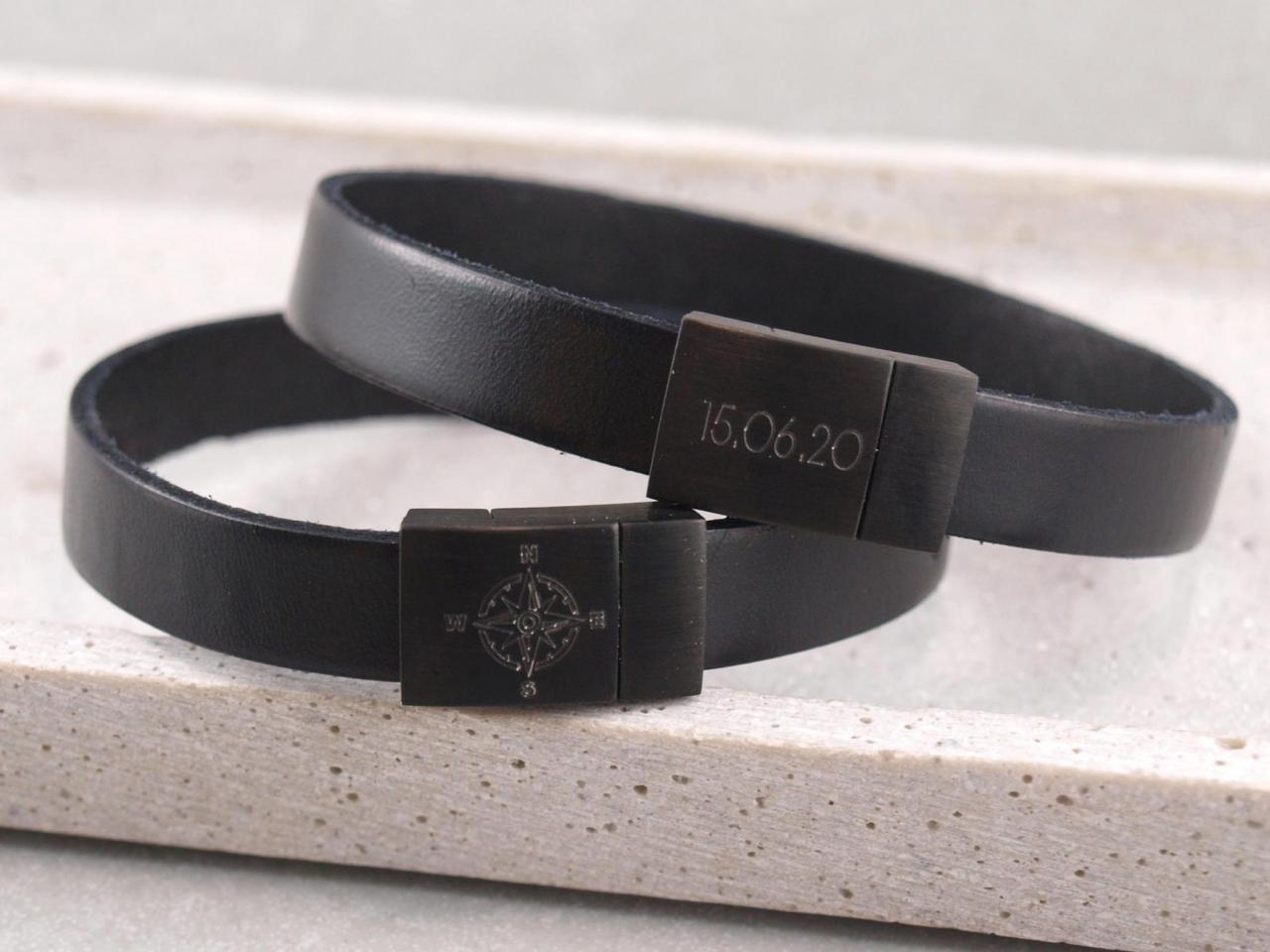 Blackedition Riemen partnerarmband mit schwarzem edelstahl magnet verschuss und gravur option die geschenkidee.jpg