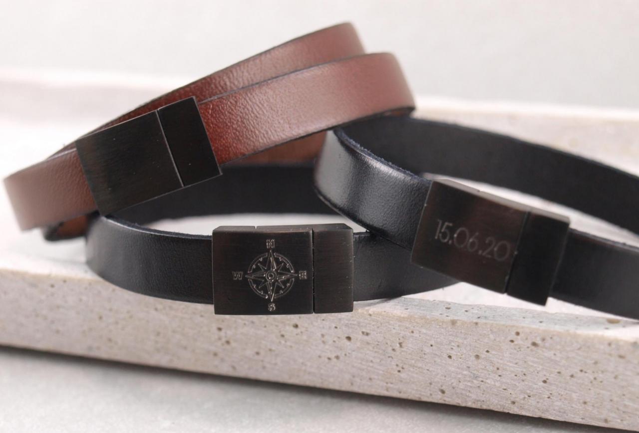 Blackedition Riemenarmband mit schwarzem edelstahl magnet verschuss und gravur option die geschenkidee