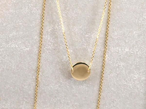 Collier 8 mm Plaettchen Echt Gold
