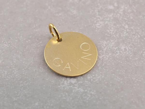 Echt Gold 14 mm Name geschwungen