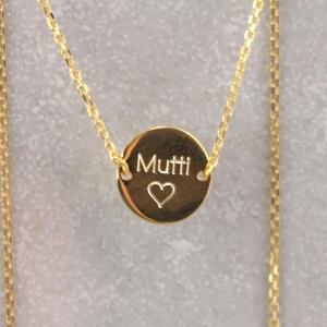 Echt goldene Kette mit Gravur-Option 333er Gold Mama Geschenk