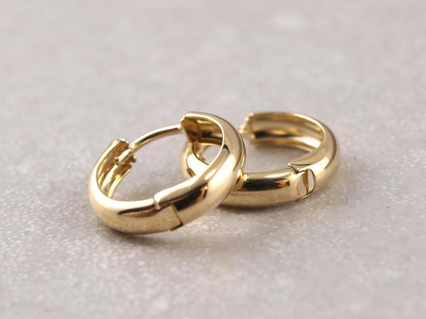 Echt goldene Kreole Klappkreole, 14 mm, 333er Gold