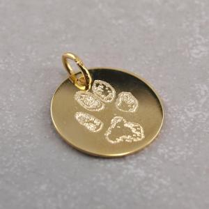 Echt goldener Anhaenger 14 mm mit Pfotengravur