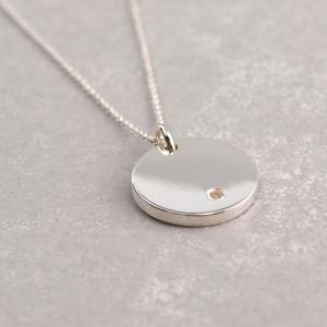 Gavuranhaenger Zirkonia Stein Silber rund Gravur 15mm