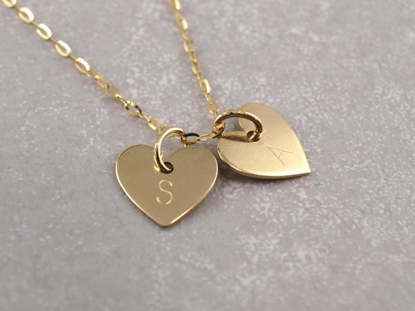Kette mit zwei Herz Anhängern mit Gravur-Option, echt 333er Gold, 10 mm