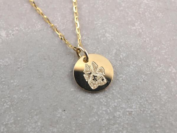 Pfote auf Gold Anhaenger als Gravur die Geschenkidee