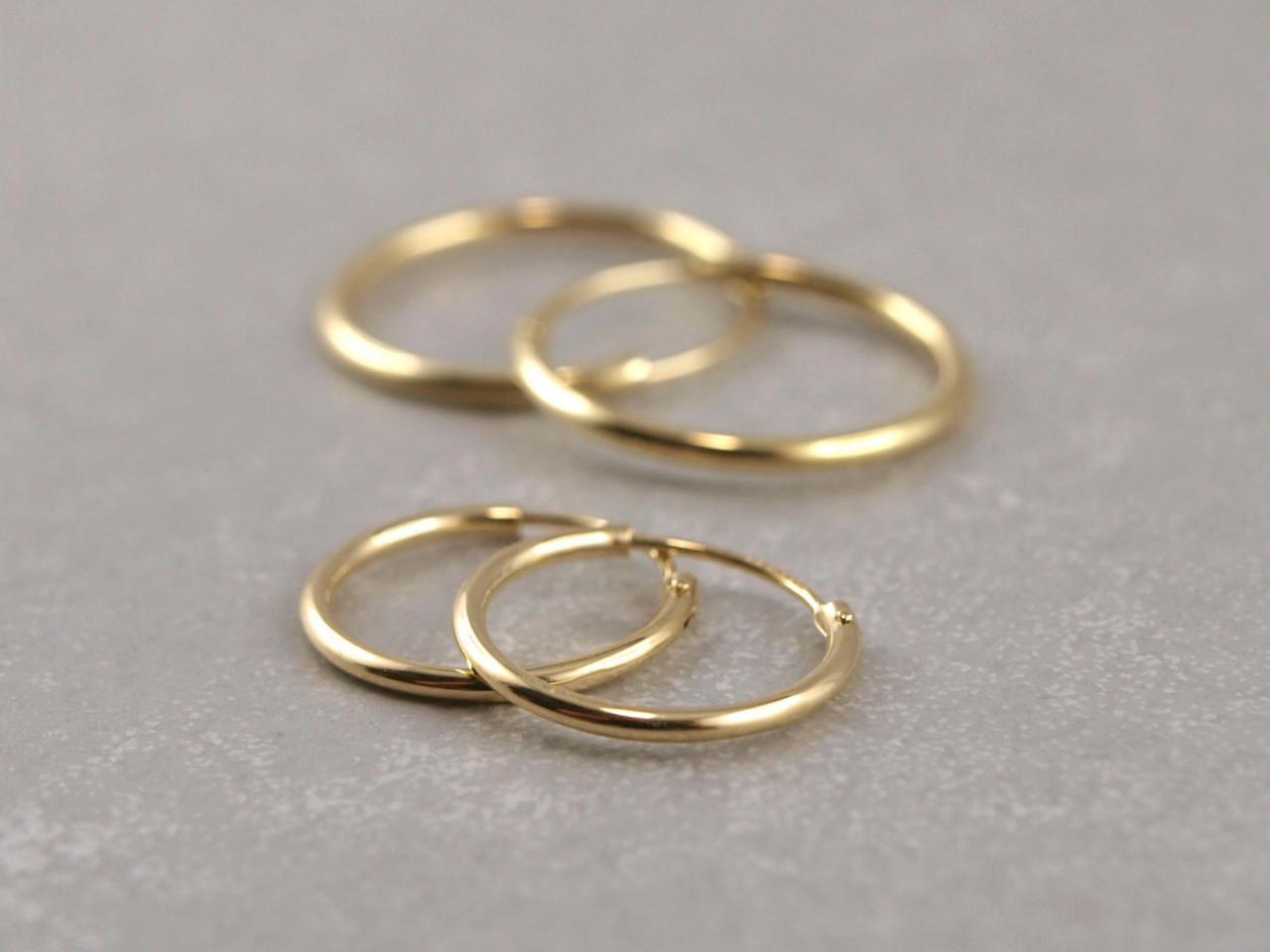 kreole aus echtem Gold mit Scharnier 15 mm und 20 mm