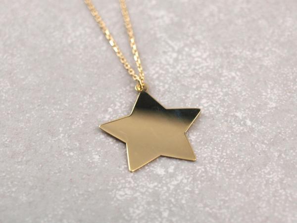 Collier mit Gravur Stern hochglanz, echt gold , Größenverstellbare Kette