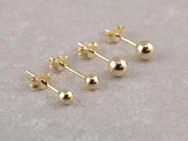 Echt goldener Kugelohrring 3 mm und 4 mm (2)