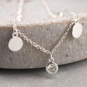Fusskettchen echt Silber mit Plaettchen und Zirkonia perfekter Sommer Look
