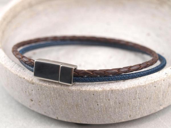 Jona schmal multicolor, Edelstahlmagnet dunkelblau-dunkelbraun