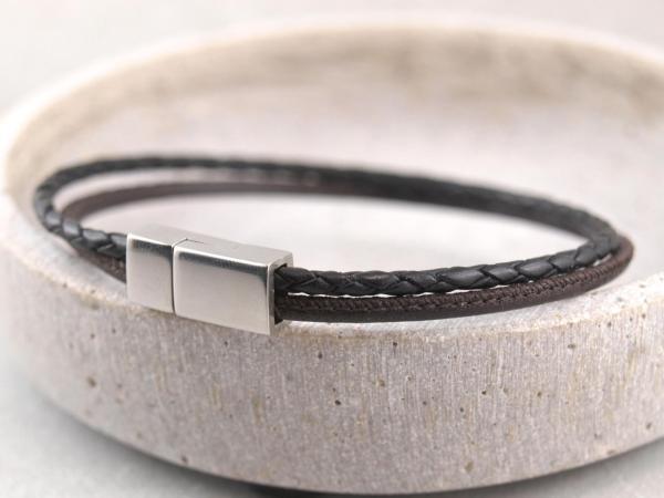 Jona schmal multicolor, Edelstahlmagnet dunkelbraun-schwarz