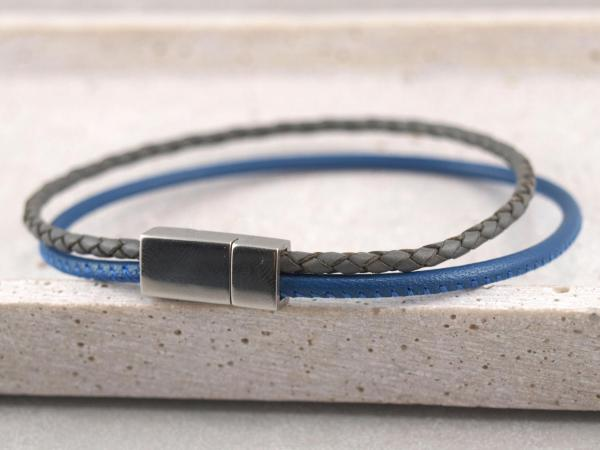 Jona schmal multicolor, Edelstahlmagnet royalblau-grau