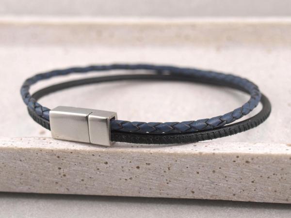 Jona schmal multicolor, Edelstahlmagnet schwarz-blau