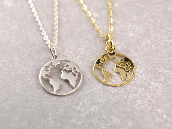 Welt Weltkugel Anhaenger Kettenanhaenger Kontinente 333er echt Gold und 925er Silber Geschenkidee Reise