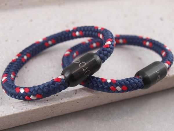 Ari Blackedition Segeltau Armband mit Gravur Option marine Partnerarmband