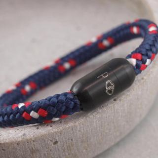 Ari Blackedition Segeltau Armband mit Gravur Option marine mit Gravur Herz