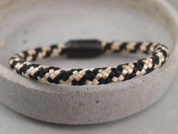 Ari Blackedition Segeltau Armband mit Gravur Option schwarz-beige