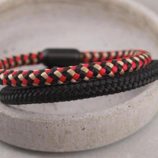 Ari Blackedition Segeltau Armband mit Gravur Option schwarz und schwar rot gelb