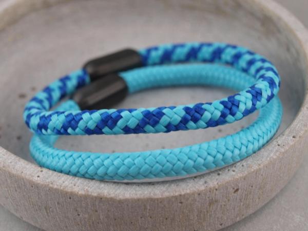 Ari Blackedition Segeltau Armband mit Gravur Option tuerkis und hellblau