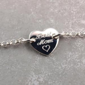 Best Mom Armband mit graviertem Herz echt Silber die Geschenkidee fuer Mama