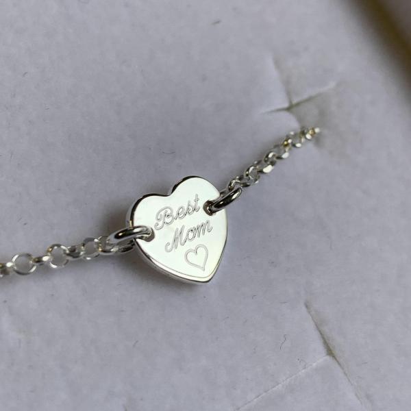 Best Mom Armband mit graviertem Herz echt Silber die Geschenkidee fuer Mama zu Muttertag