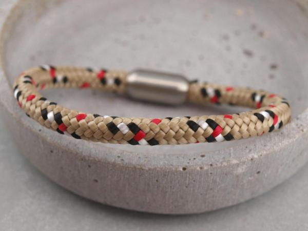 Segeltau Armband mit Gravur Option Geschenkidee fuer Mann beige