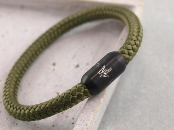 Segeltau Armband mit Gravur Option grosse Farbauswahl einfarbig die Geschenkidee fuer Mann ILD