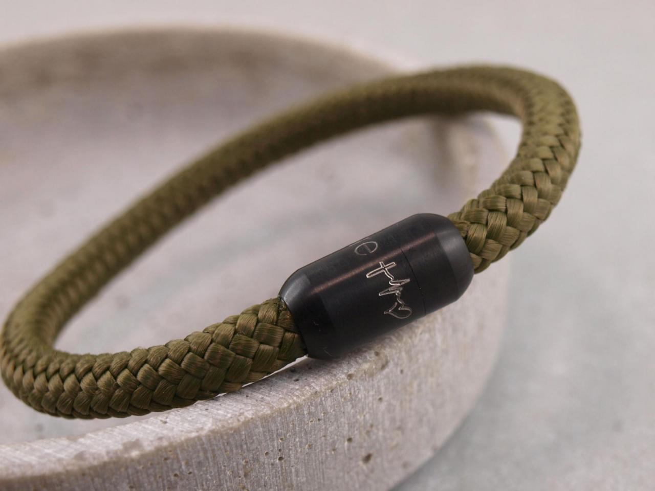 Segeltauarmband Ari mit Black Edition Magnet Glaube Liebe Hoffnung