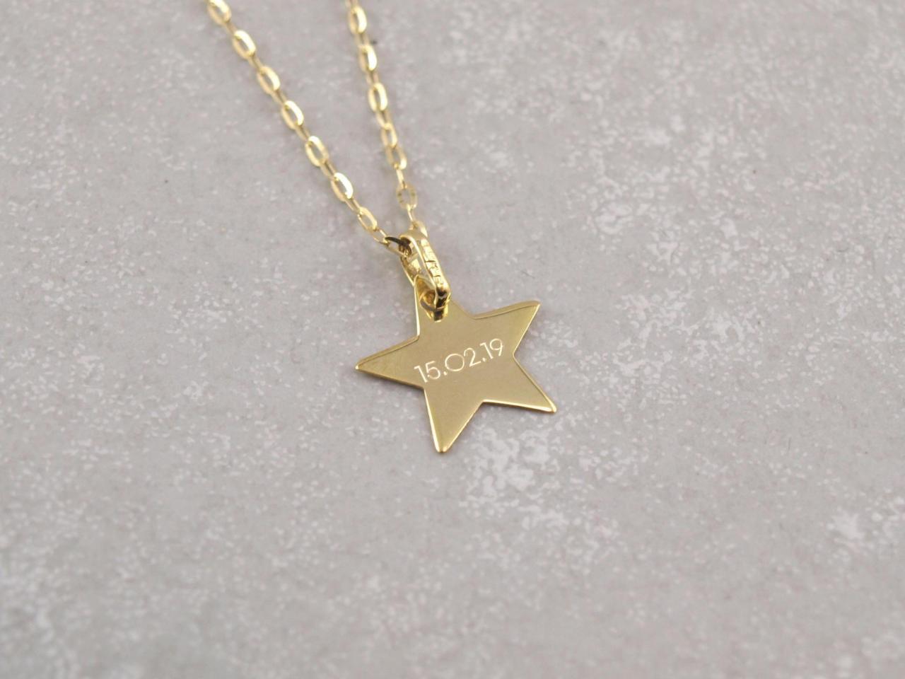 Echt Gold 333 Stern Anhänger mit Gravur 2