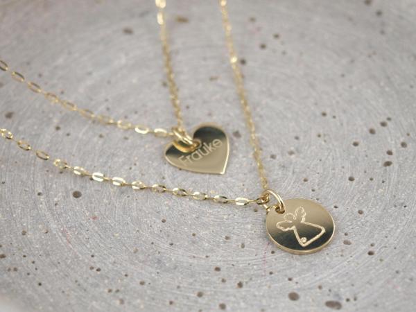 Familienkette echt Gold mit zwei Ketten und zwei Anhaengern