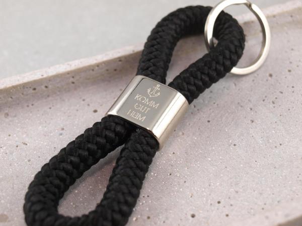 Schluesselanhaenger Segeltau schwarz mit individueller Gravur Anker_