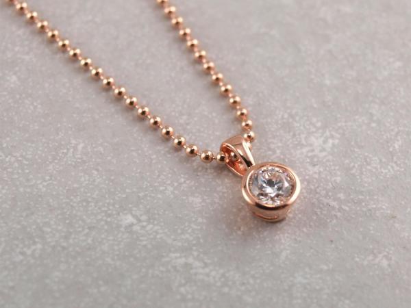 Zirkonia Anhaenger aus 925er Silber rosevergoldet mit Kugelkette