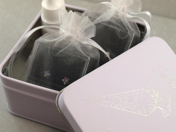 geschenkbox fuer Schulkinder, zwei Ohrringe, Pflege, inklusive individueller Gravur