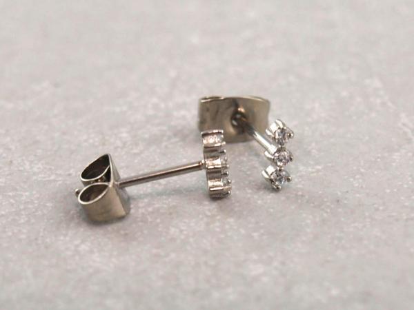 Chirurgenstahl Ohrring antiallergisch drei Steine silber (2)