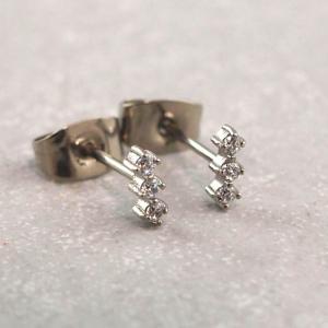Chirurgenstahl Ohrring antiallergisch drei Steine silber