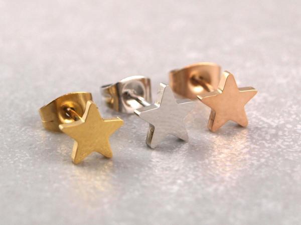 Edelstahl Stern drei Farben gold rosegold silber ca 7 mm